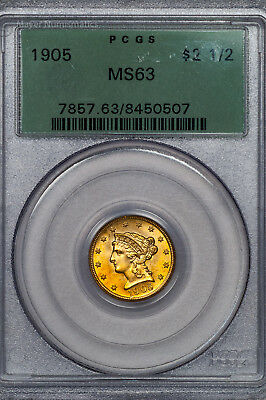 1905 Liberty Gold $2.50 PCGS MS63 Choice Orange Color Old Green Holder (8450507)