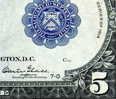 HGR SUNDAY 1914 $5 FRN ((Rare GLASS Signature)) Appears CHOICE UNCIRCULATED