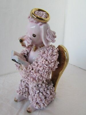 Vintg China Pink Poodle Angel Dog Reading Bible Book Spaghetti Trim Dog Figurine