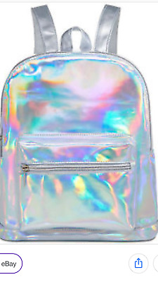 Ariana Grande iridescent shiny silver BACKPACK travel BOOK BAG new with tags GWP