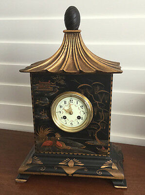 Black Chinoiserie Pagoda Clock
