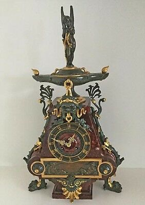 French Gilt Bronze and Rouge Marble Mantel Clock
