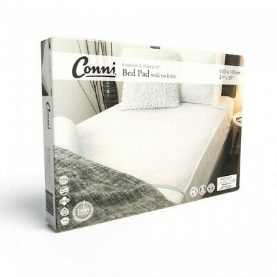 Conni Reusable Bed Pad with Tuck-Ins White Conni