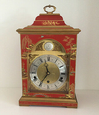 Red Chinoiserie Three Train Bracket Clock by Elliott, London