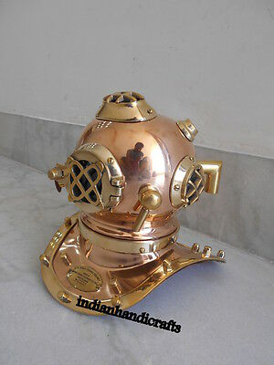 """Us Navy Collectibles Brass & Copper 6"""" Mark V Divers Diving Helmet Replica Gift"""