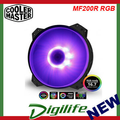 Cooler Master MasterFan MF200R RGB 200mm fan; High Air Flow; Jam Protection