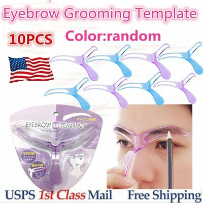 10pcs Eyebrow Shaper Template Pro Stencil Fast Easy Shaping Brow Grooming I2