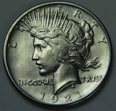 1921 Peace 90% Silver Dollar Key Date High Relief $1 Old US Coin P2R D020