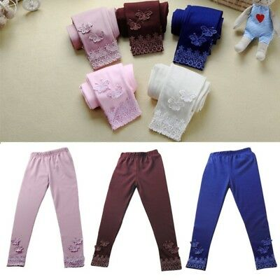Toddler Kids Baby Girls Tight Pants Lace Butterfly Stretchy Leggings Trousers