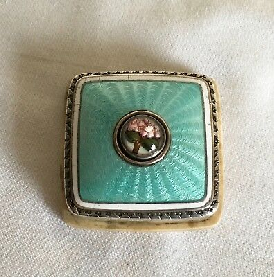 Vintage Silver Engine Turned Guilloche Enamel Novelty Flower Bell Push Button