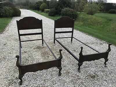 Pair of antique single bed frames