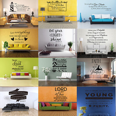 Inspiration Wall Sticker Bible Verse Religious Quotes Art Vinyl Removable Decor