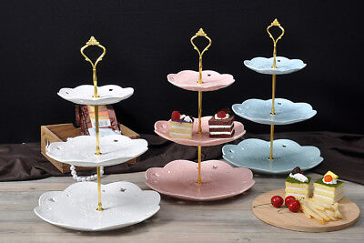 2/3 Tier Round Ceramic Cake Stand Cupcake Stand Food Platter Serving Tray Plate
