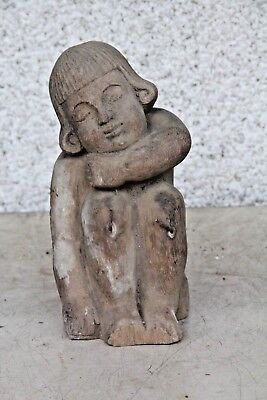 Stunning Hand Carved Wooden Small Traditional Gothic Boy Carving