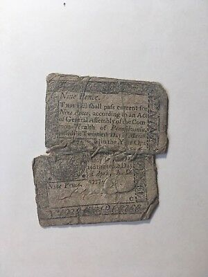 April 10, 1777 Nine 9 Pence Pennsylvania Colonial Currency - Sewn