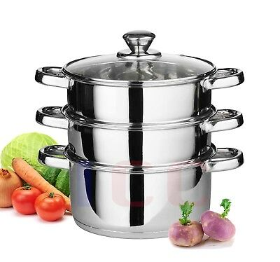 3pc stainless steel food steamer set glass lid steam sauce pans cooking pan 22cm