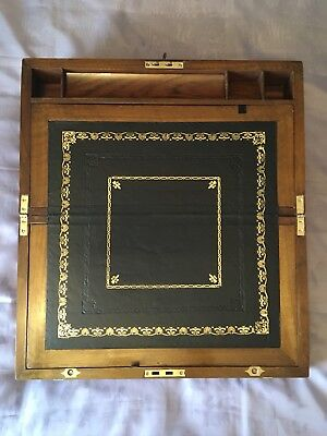 Victorian Writing Slope/ Box With Secret Drawers And Working Lock & Key