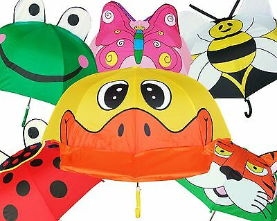 "Lot of 12 New RainStoppers 38"" Arc Children Kid Assorted Animal Umbrellas"