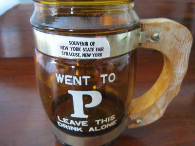 VTG New York State Fair Syracuse Amber Glass Beer Mug Wooden Handle Went to P