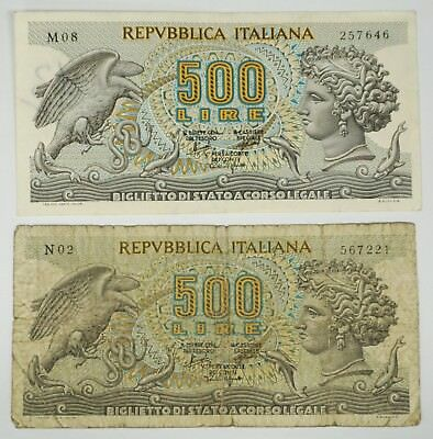 2-1966 Italy Repvbblica Italiana 500 Lire Notes Paper Money