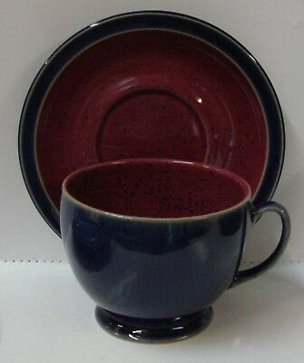 Denby HARLEQUIN Breakfast Cup Saucer Set RED ON BLUE More Items Available
