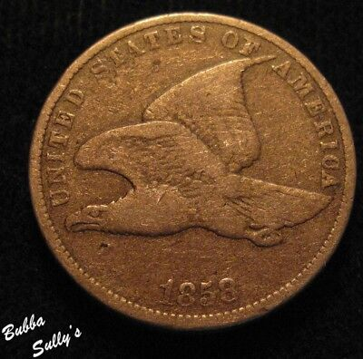 1858 Small Letters Flying Eagle Cent <> VERY GOOD