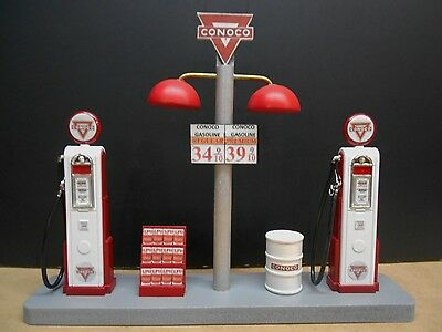""""""" Conoco """" Gas Pump Island Display W/gas Price Sign, 1:18Th, Hand Crafted, New"""