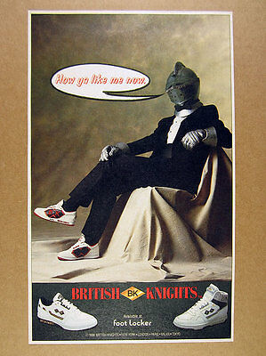 1988 British Knights BK Shoes knight armor helmet tuxedo photo vintage print Ad
