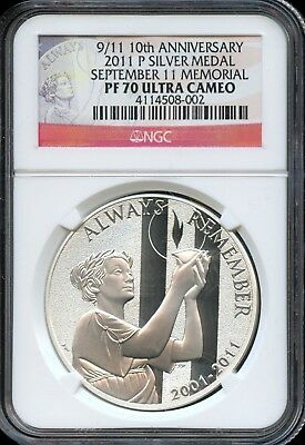 2011-P PF 70 Ultra Cameo NGC 9/11 10th Anniversary Silver Medal Memorial EG387