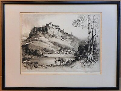 Stirling Castle, Drypoint Etching by listed artist Albany E Howarth ARE, c1910