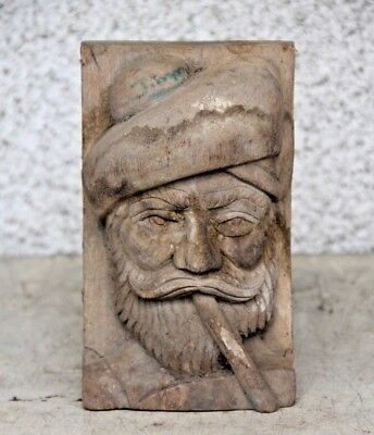 Stunning Hand Carved Wooden Captain Fisherman Pipe Smoking Gothic Carving