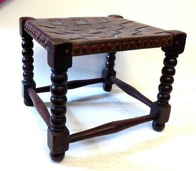 Antique Bobbin Turned Small Oak Stool with Woven Leather Seat