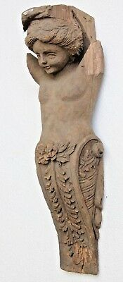 Beautiful Hand Carved Wooden Gothic Cherub Wall Bracket Carving