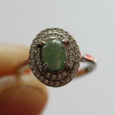 Size 5 1/4 ** CERTIFIED Natural (A) Beautiful Jadeite JADE Ring 925 Silver #R138