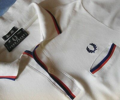 "POLO T-SHIRT slimfit vintage FRED PERRY TG.40 "" 102 cm circa M made in Italy"