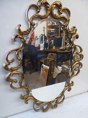 1950's Large Rococo Gilt Frame Wall Mirror By Peerart