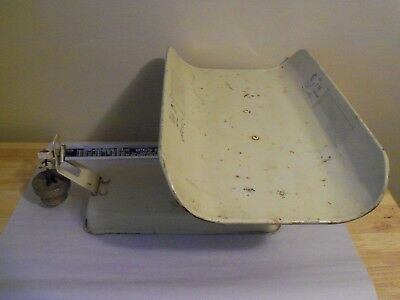 Antique 1930's Detecto Beam-Type Hospital Baby Scale, Ivory Colored