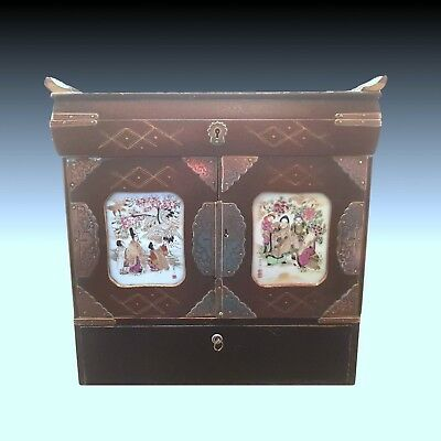 Antique 19Th Century Japanese Lacquer & Porcelain Writing Cabinet