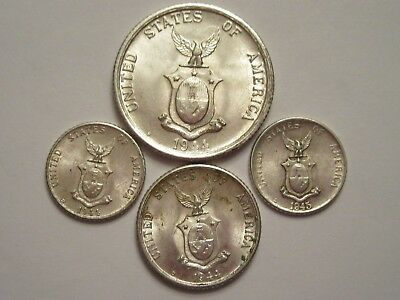 Lot of 4 Philippines Silver Coins, mixed dates & denominations, nice details