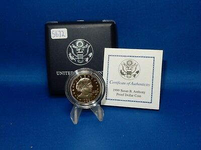 1999 Susan B Anthony Proof Dollar Coin with Case & COA