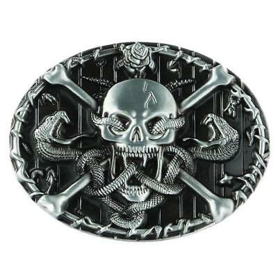 Silver Skull Head Skeleton Snake Belt Buckle Cowboy Punk Rock Gothic