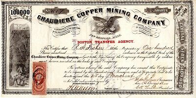 Chaudier Copper Mining Company of New Bedford, MA 1864 Stock Certificate