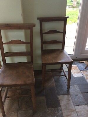 Industrial vintage antique church chapel dining farmhouse chairs
