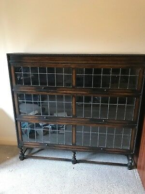 Oak 1900 Antique Stacking Bookcase, 3 Leaded Glass Doors