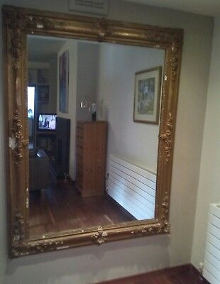 Large antique mirror gold finish...158x124cms