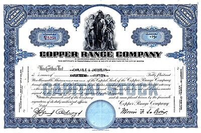 Five (5) different color Copper Range Mining Stock Certificates of Michigan