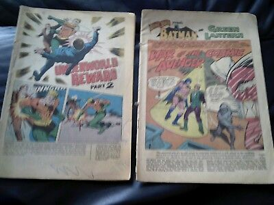 DC Silver Age Two Issue Lot Missing Covers 1966-69 Batman Green Lantern Aquaman