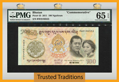 "Tt Pk 35 2011 Bhutan 100 Ngultrum ""commemorative"" Pmg 65 Epq Gem Uncirculated!"