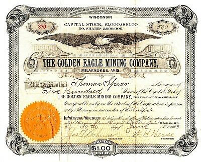 Golden Eagle Mining Company of Milwaukee, Wisconsin 1903 Stock Certificate
