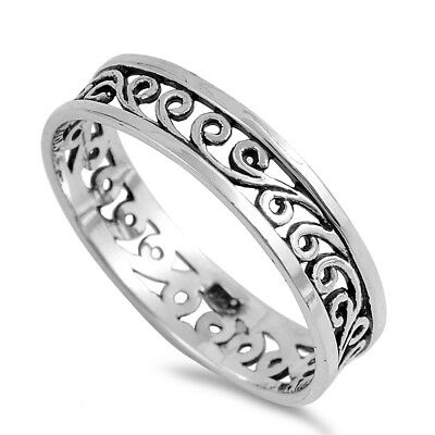 Women's Eternity Style Polished Ring .925 Sterling Silver Band Sizes 4-12 NEW